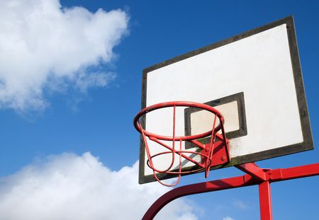 Park basketball hoop. photo