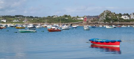 scilly: Boats in St. Marys harbour, Isles of Scilly, Cornwall UK.