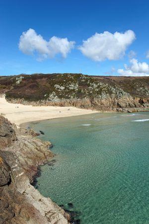 porthcurno: Porthcurno beach and turquoise sea, Cornwall UK. Stock Photo