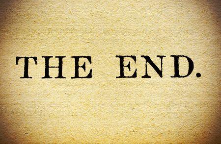 the end: Makro schlie�en bis des The End in einem Vintage Buch.