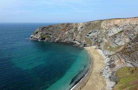 inaccessible: Golden Heane an inaccessible beach near Portreath, Cornwall UK.
