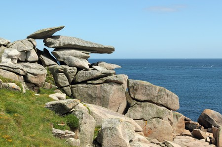 scilly: Pulpit rock, St. Marys Isles of Scilly, Cornwall UK. Stock Photo