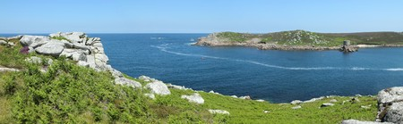 scilly: Panoramic view of Tresco from Bryher, Isles of Scilly, Cornwall UK.