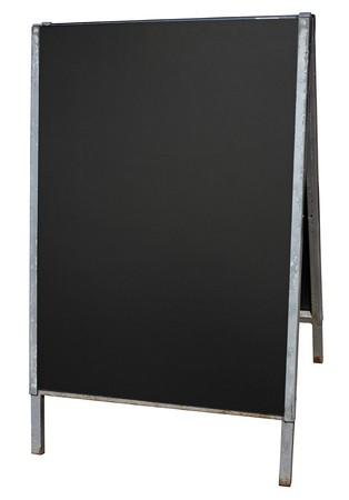 Empty street menu blackboard stand isolated on white. photo