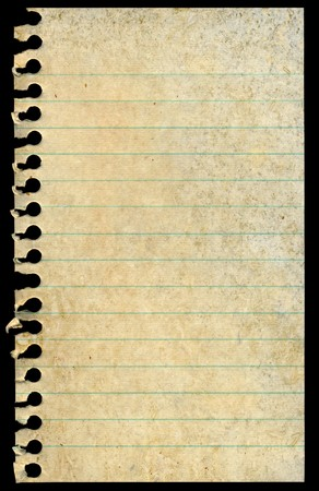 Old dirty stained blank torn notepaper page isolated on a black background. photo