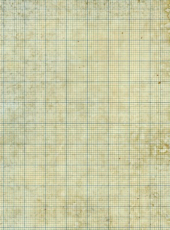 Old vintage stained discolored dirty graph paper. Stock Photo