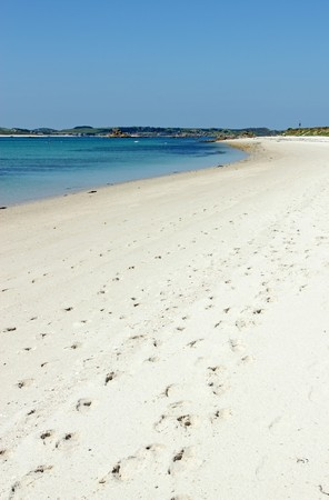 scilly: Sandy beach St. Martins Isles of Scilly Cornwall UK. Stock Photo