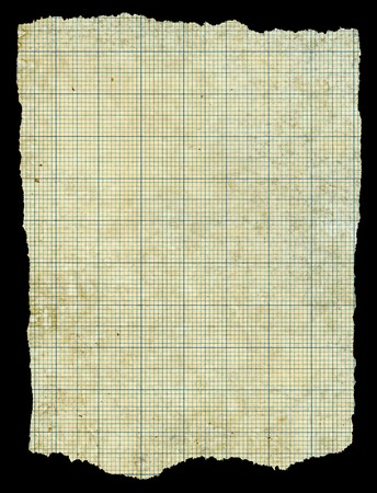 Old torn stained dirty graph paper isolated black background. photo