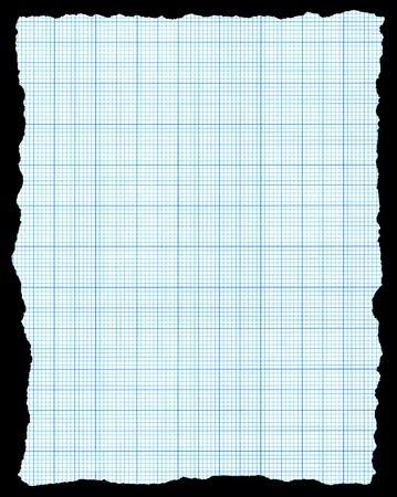 Torn blue graph paper isolated on a black background. photo