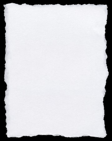 White torn paper page isolated on a black background. Stock Photo