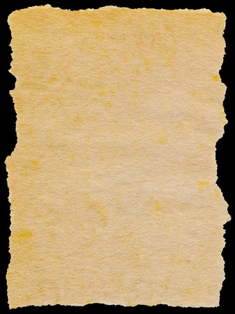 Old torn paper isolated on a black background. Stock Photo