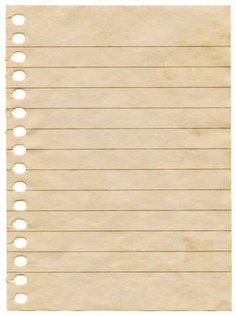 Old dirty stained blank notepaper page isolated on a white background. Stock Photo - 7952507