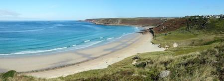 sennen: Sennen Cove beach and Cape Cornwall panorama, Cornwall UK. Stock Photo