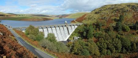elan: Craig Goch reservoir panorama, Elan Valley, Wales. Stock Photo