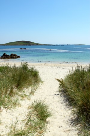 scilly: Path to Rushy Bay beach in Bryher, Isles of Scilly Cornwall UK. Stock Photo