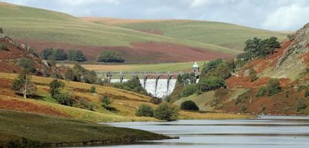 elan: Elan Valley Craig Goch dam water overflowing, Wales UK. Stock Photo