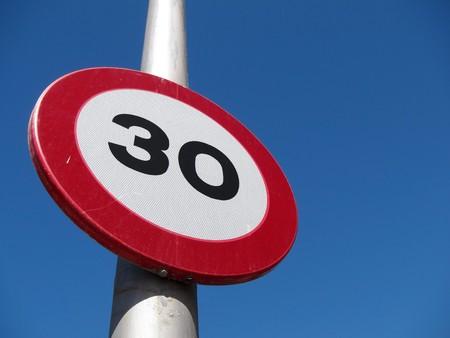 kph: Spanish 30 kph road sign. Stock Photo