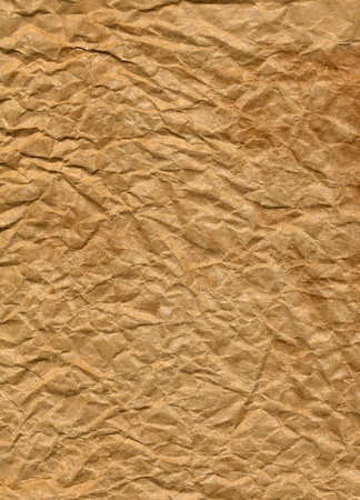 Crumpled brown paper bag close up texture background.  Stock Photo - 8347406