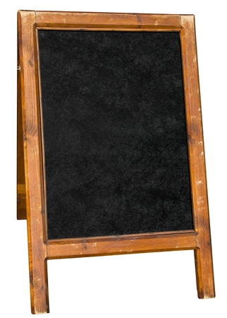 pubs: Empty menu board stand sign isolated over white.