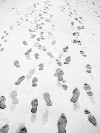 snow on the ground: Lots of footprints in snow. Stock Photo