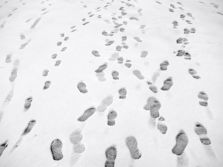 shoe print: Lots of footprints in snow. Stock Photo