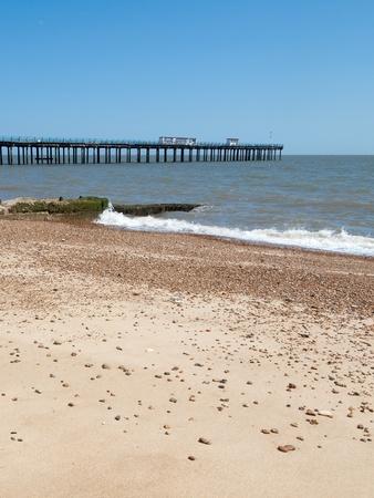 felixstowe: Felixstowe beach and pier, Suffolk England. Stock Photo