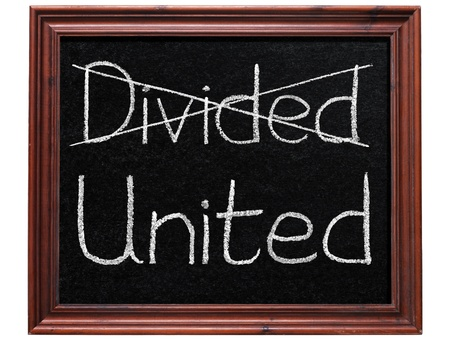 divided: Crossing out divided and writing united.
