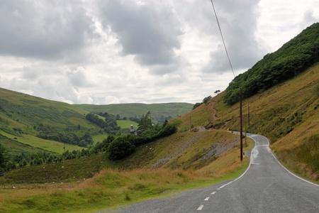 single lane road: Single lane country road near Cymystwyth in Wales UK.