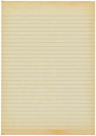 Old yellowing lined blank A4 paper isolated. Stock Photo