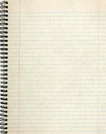 Página de cuaderno viejo forrado de papel. Foto de archivo