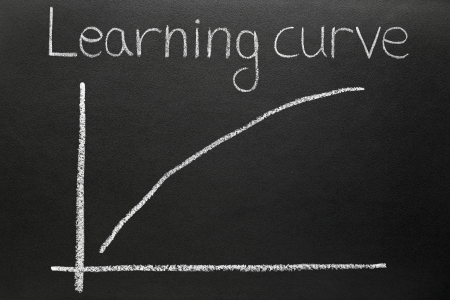 A steep learning curve drawn on a blackboard. Stock Photo - 13830349
