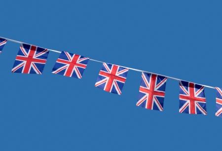 Small British Union Jack celebration flags. photo