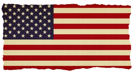 spangled: USA stars and stripes flag on old torn isolated paper.