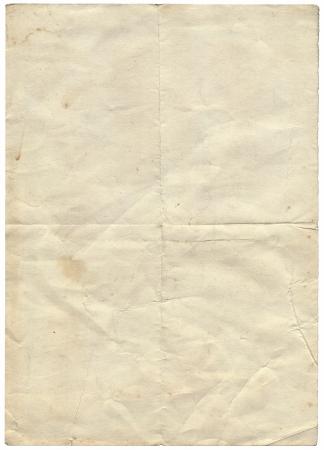 Isolierte alte vintage gefaltet zerrissenes Papier.