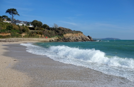 british weather: Swanpool Beach in Falmouth Cornwall England. Stock Photo