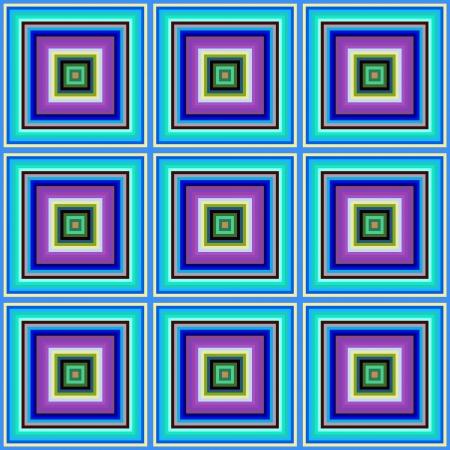 decreasing in size: Blu, rosa e di colore verde piastrelle quadrate illustrazione senza soluzione di continuit� Archivio Fotografico