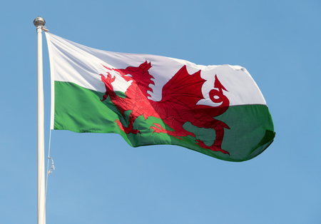 Welsh flag (Y Ddraig Goch) blowing in the wind. Stock Photo