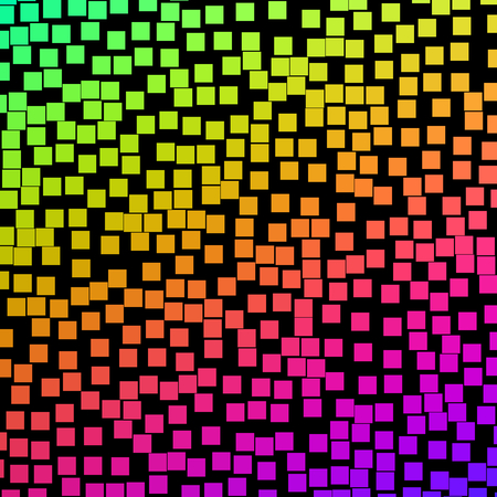 wallpaper vibrant: Lots of colorful square blocks on a black background. Stock Photo