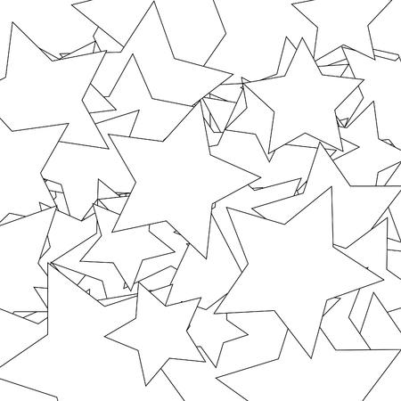 stars line style seamless pattern on white background. Vector illustration. Ilustração