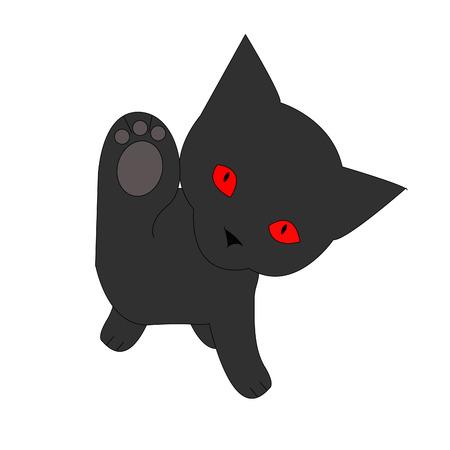 Black cat with red eyes, vector illustration isolated on white background. Ilustração