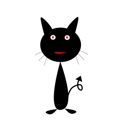 black cat red eyes Vector illustration. Ilustração