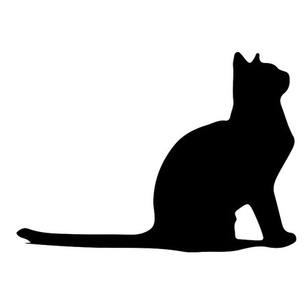 Black cat silhouette vector illustration isolated on white background. Ilustração