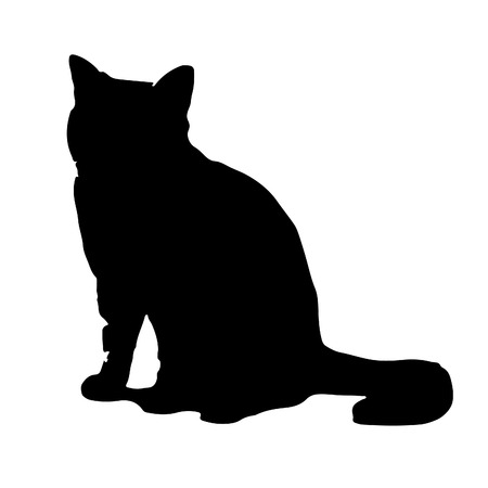 Black cat silhouette icon vector illustration isolated on white background.
