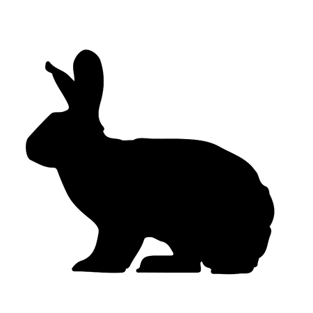 Black rabbit silhouette icon vector illustration isolated on white background.