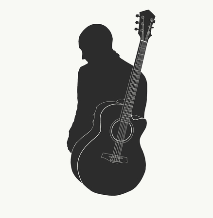 shadow of man and guiter 矢量图像