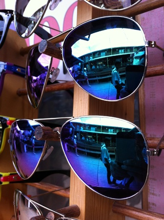 eye: Sunglasses sold at a stall in Thailand Stock Photo
