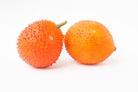 bitter fruit: A Southeast Asian fruit Baby Jackfruit Spiny Bitter Gourd,white background