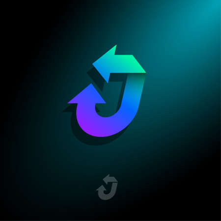 J letter. J monogram with arrows, isolated on a dark background. Logo can used for shipping, delivery and logistic company, mail and transportation.