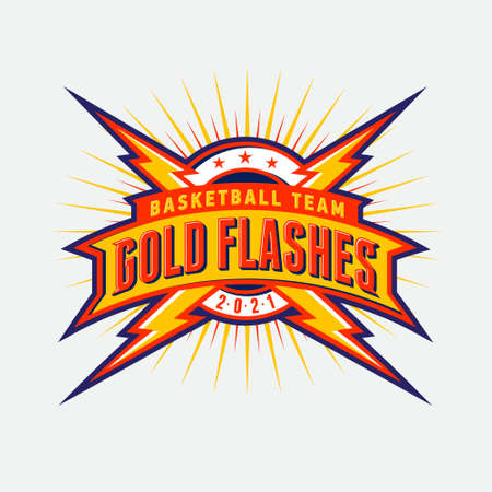"""""""Gold Flashes"""" sport team logo. Circle shield, letters and flashes or lightning. Emblem for sport team, equipment, clothes, sport club."""