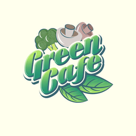 Green Cafe logo. Green letters with broccoli, mushrooms, basil leaves. Green Market sign. Restaurant of vegetarian cuisine. Logo